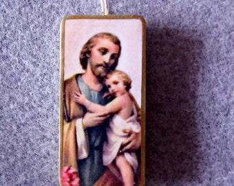 Saint Joseph Catholic Altered Art Recycled Domino Necklace Patron of Families J6