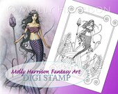 Amethyst Sea - Digital Stamp - PRINTABLE - Instant Download- Mermaid Art - Molly Harrison Fantasy Art - Digistamp Coloring Page
