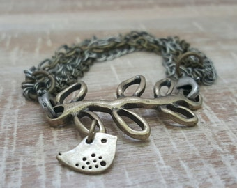 Vine and Bird Multi Chain Bracelet