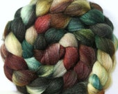 Hand dyed 60/40 Polwarth/Silk blend Combed Top-- 4.2 oz --