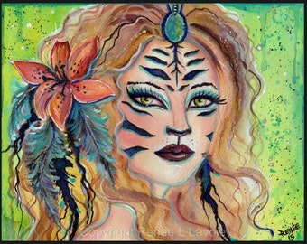 Fantasy tiger girl with lily art print by Renee L. Lavoie
