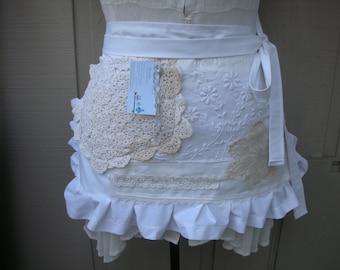 White Aprons - Bride Aprons - Annies Attic Aprons - Farm Apron - Bo Ho Aprons -  Shabby Chic Aprons - French Flea Market Apron - Shop Aprons