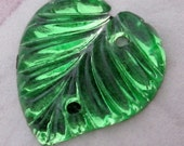 3 pcs. vintage foiled pressed molded glass leaf peridot green 2 hole sew on flat back cabochon 14x13mm - f4862
