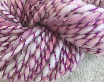 Handspun Yarn BEACH ROSE, knitting supplies, crochet, weaving, craft supplies, baby  prop yarn waldorf doll hair 70yds.