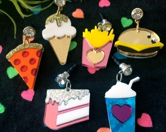 Junk Food Acrylic Rhinestone Cell Phone Charms