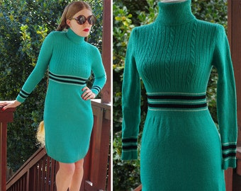 Cableknit 1960's 70's Vintage Striped Teal Blue Sweater Dress with Long Sleeves + Turtleneck // size XS Small // by Bargello