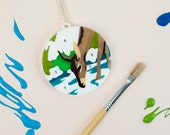 Paint By Numbers Deer Necklace laser cut handmade UK statement pendant outdoors painting