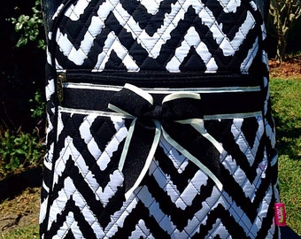 NEW Black and White Ikat Quilted Backpack Diaper Bag Personalized
