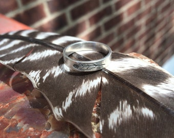 Eagle Feather Engraved Sterling Silver Ring 4mm wide