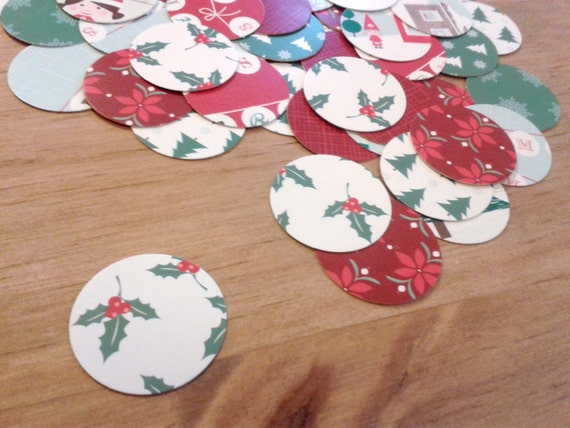Round Upcycled Christmas Table Scatter Or Confetti Holiday