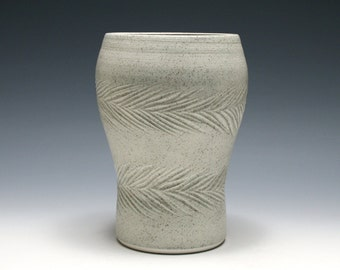 Light Gray Pottery Vase with Carved Pine Boughs