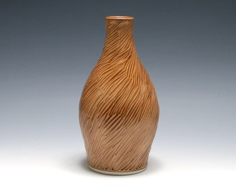Brown Pottery Vase with Hand Carved Pattern - Oak Glaze