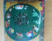 Vintage 90s Bucilla Christmas Tree Express 43 in Round Tree Skirt Felt Applique Kit Package New Old Stock