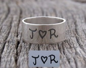 Signature Ring Actual Handwriting Ring Sterling Silver Personalized Wide Band Ring Memory Ring