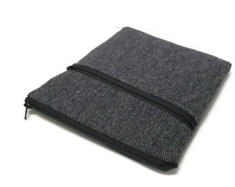 """Surface Book Sleeve, Surface Pro 3 or 4 Case, Surface 3 Sleeve, 11"""" 12""""  - Gray Herringbone Wool"""