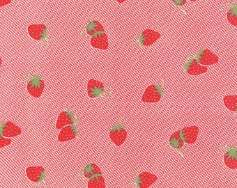 Hello Darling - Strawberries in Red: sku 55114-11 cotton quilting fabric by Bonnie and Camille for Moda Fabrics - 1 yard