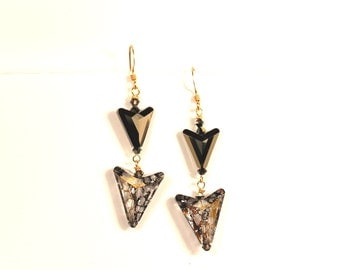 Golden Arrows Earrings Chasing Chevron Swarovski Crystal Golden Shadow 14K Gold Filled Simple Dagle Sophisticated Bow & Arrow Dagger Points