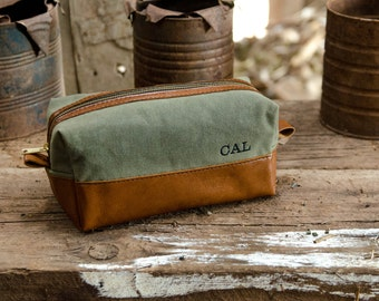 Waxed Canvas and Leather Toiletry Travel Shaving Dopp Bag with Free Monogram and Optional Interior Message Gift for Man Groomsmen Wedding