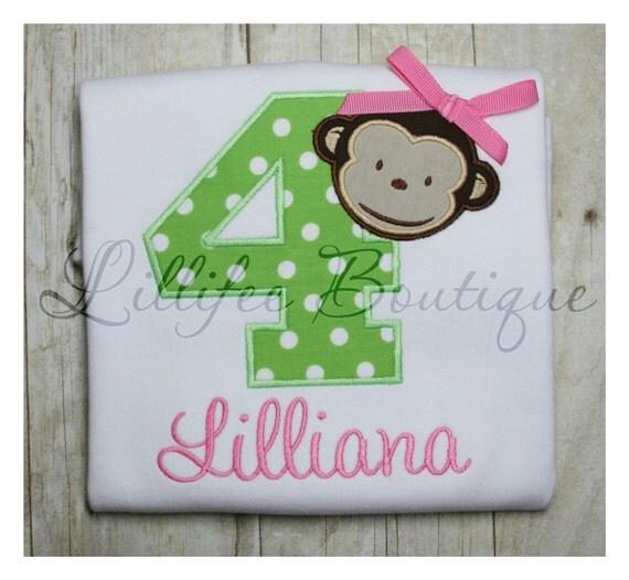 Monkey Birthday Shirt ~ Tshirt ~ Tee ~ Bodysuit ~ Personalized ~ Monogrammed ~ Applique ~ Lime Green ~ Hot Pink ~ Bow ~ Girl ~ Polka Dot