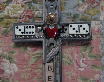 Recycled Found Object Assemblage Cross - BE