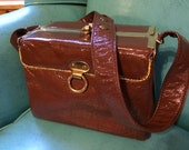 Vintage 1970s Handbag Box Bag Purse Brown Wet Look Vinyl Roomy Mod Medium Size