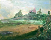 Castle on the Hill, original painting in acrylics on canvas
