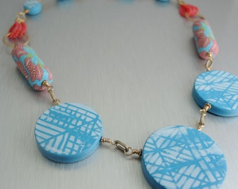 Polymer and Brass Statement Necklace - Cerise and Aqua