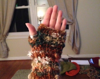 Art yarn Fingerless Mitts
