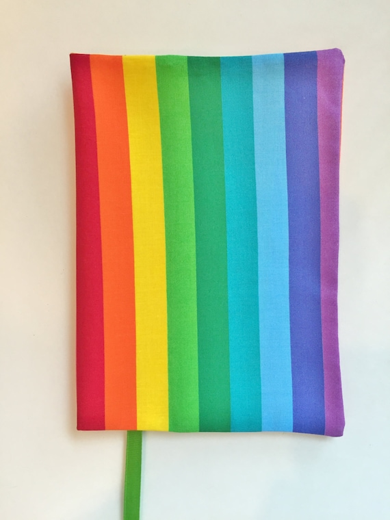 How To Make A Rainbow Book Cover : Fabric book cover rainbow fits wide and
