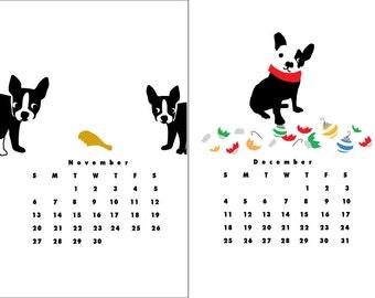 2018 French Bulldog Calendar Original Illustrations Hand printed