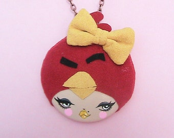 Don't Get Angry, Get Eggs Doll Face Necklace