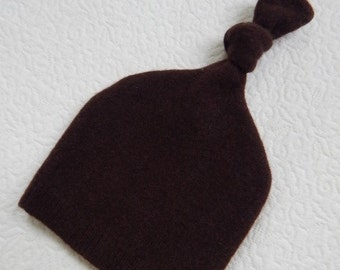 Recycled Chocolate Brown Cashmere Baby Hat - 0-3 months