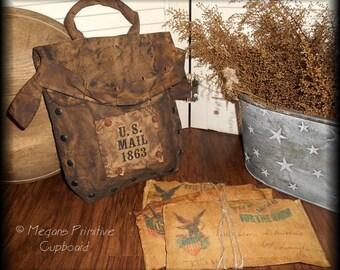 Primitive Colonial Folk Art handmade Grungy Civil War Mailbag Doll w/ Envelopes Prim