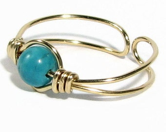 14k Gold Filled Turquoise Toe Ring Choice of Gemstone or Crystal