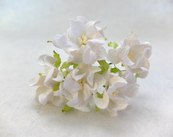 White flowers - 5 pcs - 40mm white mulberry paper gardenia (2 layers) - mulberry paper flowers - 4cm paper flowers