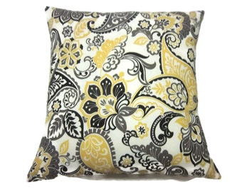 Decorative Pillow Cover Yellow Gold Gray Black Ivory Modern Floral Paisley Design Same Fabric Front and Back Toss Throw Accent 18x18 inch x