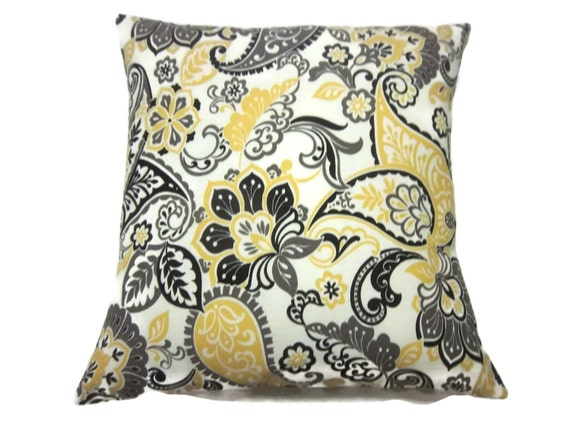 Decorative Pillow Cover Yellow Gold Gray Black Ivory Modern