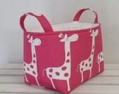 Fabric Organizer Bin Toy Storage Container Basket -  Gisella Giraffe Fabric - Choose the Outside and Inside Fabrics