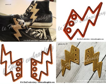 4x4 5x7 LIGHTNING BOLT Shoe Wings Machine Embroidery In Hoop Design Goth Costume Superhero Steampunk cosplay Fantasy Roller Skate Electric