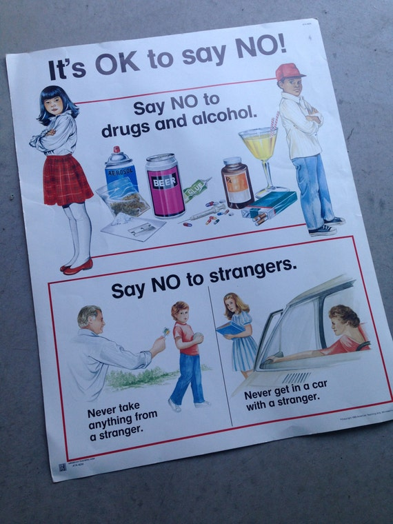 Stranger Danger Poster Anti Drug Free Educational Poster Kids