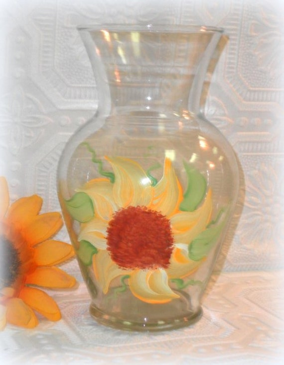 Hand Painted Country Sunflower Glass Vase, Summer Wedding Decor, Personalized For Free
