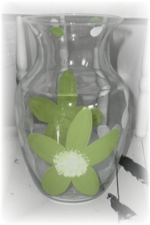 Lime Green Hand Painted Glass Flower Vase, Wedding Centerpiece, Custom Orders Available