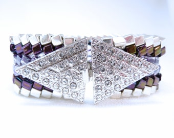 Royal Purple Beadwoven Cuff Bracelet
