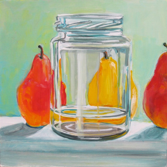 SALE Middle Pear original acrylic still life painting
