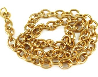 Large Vintage Raw Brass Cable Chain (17.5 inches) (C550)