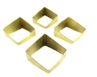 Raw Brass Tapered Square Tube Charms (8x) (K109-A)