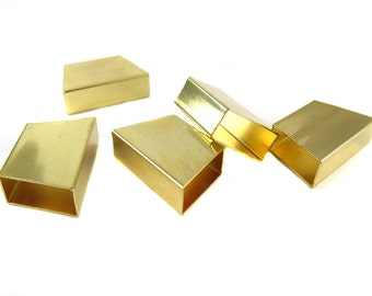 Gold Plated Geometric Tube Bead Pendants (2x) (K110-C)