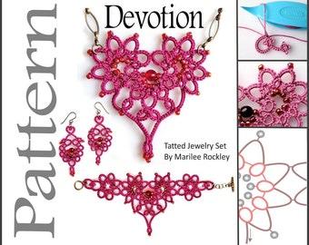 """Tatting Pattern Jewelry Set """"Devotion"""" PDF Instant Download"""