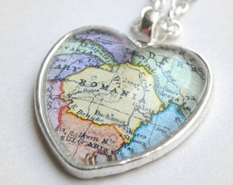 Romania Map Necklace - Also featuring Bucharest and more