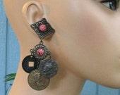 Antique Brass Gypsy Coin Earrings, Faux Gemstone Coral Cabs, Pierced Studs, Vintage 1980's Long Boho Earrings, Hippie Jewelry